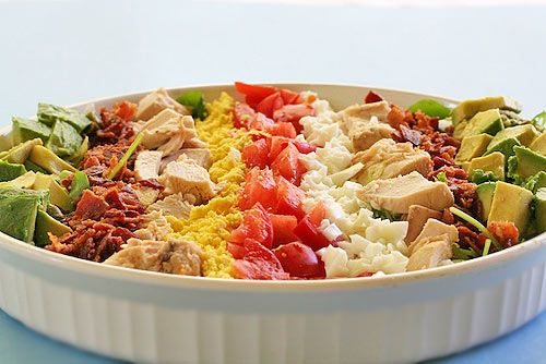 Low low low carb: Hard Boiled, Classic American, Fun Recipes, American Cobb, Cobb Salad, Boiled Eggs, Avocado Chicken, Chicken Breast, Frise Lettuce
