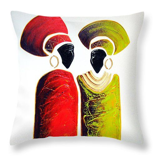 """Vibrant Zulu Ladies Throw Pillow 14"""" x 14"""" by Tracey Armstrong"""