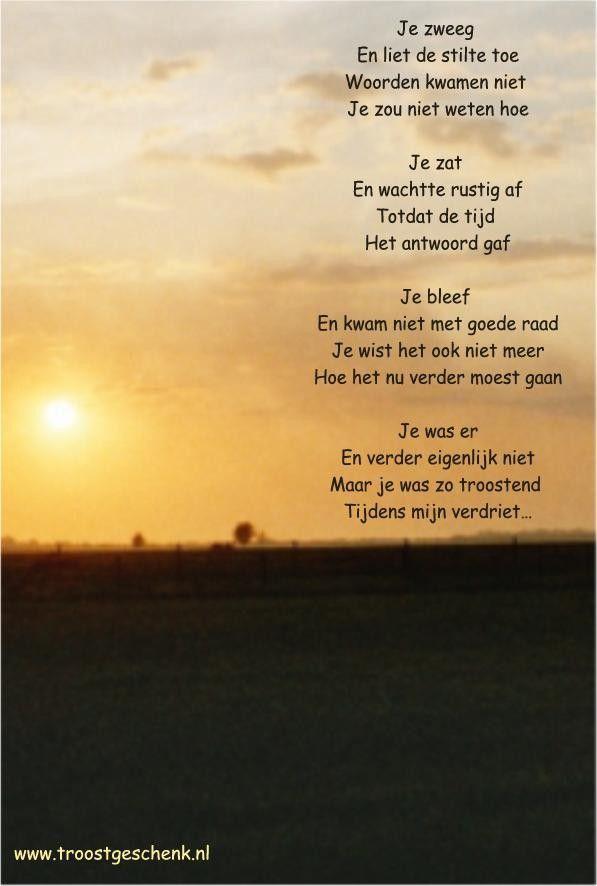 Gedicht Je zweeg www.troostgeschenk.nl