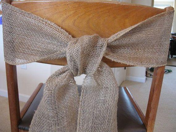 burlap chair sash tie wedding bow ribbon wreath by TheRusticRaven