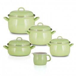 Emailset Color grün Geschirr-Set 5 teilig Topfset