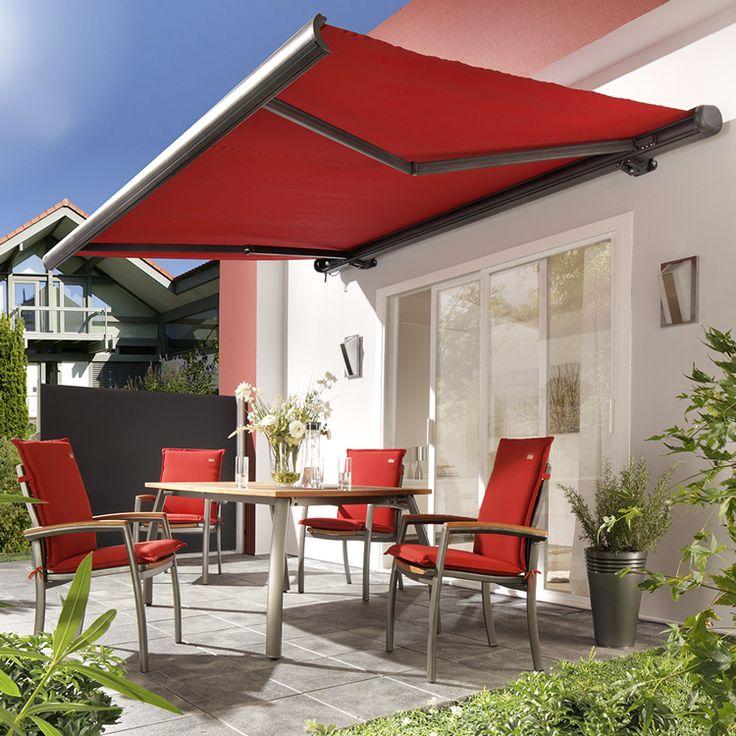 Die einfarbige Vollkassettenmarkise von sunfun bietet zuverlässig Schatten auf Terrasse oder Balkon.