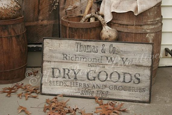 Personalized Early Antique Reproduction Primitive Wooden DRY GOODS, Herbs Sign