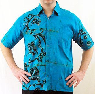 Electric Blue and Black Men's Batik Shirt (medium)