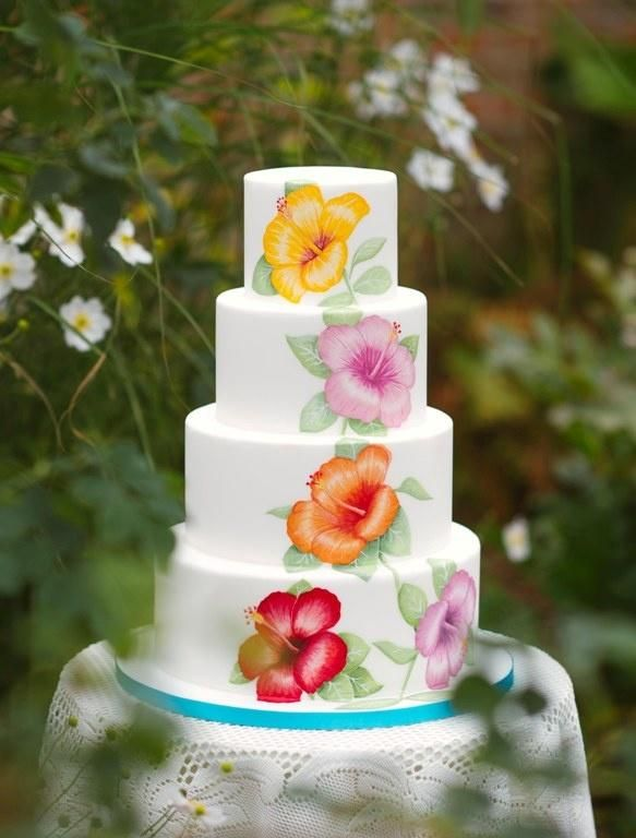 Hand painted Hibiscus wedding cake - Cake by Cake Couture NI