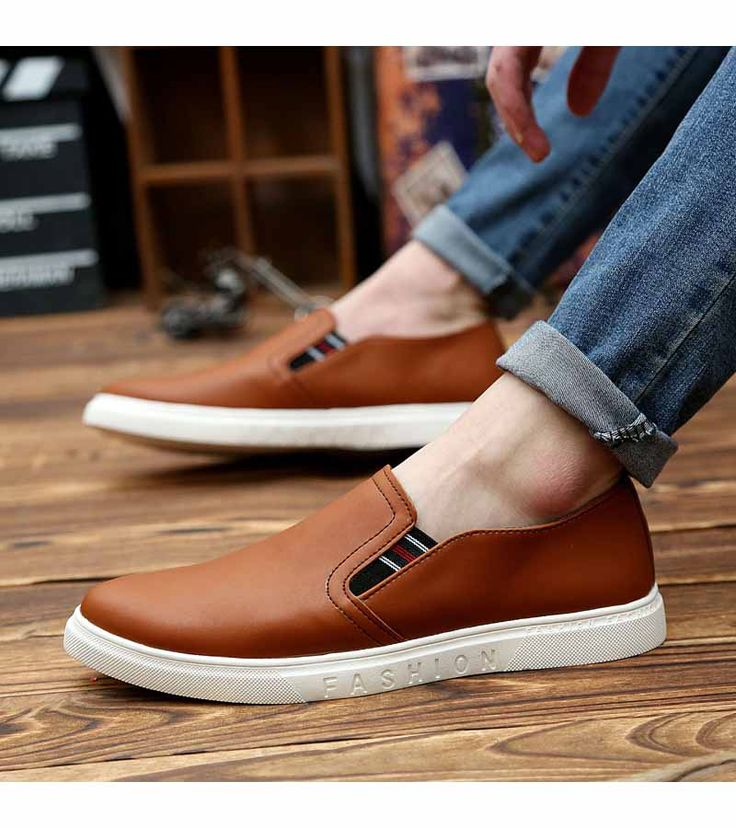 Men's #brown shoe #sneakers simple design, sewing thread design, fashion label, Slip on style, casual, leisure occasions.