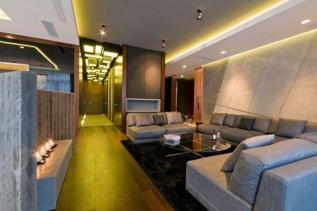 led deckenbeleuchtung wohnzimmer gelbes lichtabgehängte decke, Wohnzimmer