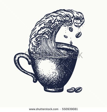 Storm in a cup of coffee tattoo and t-shirt design, surreal graphic. Coffee art idea