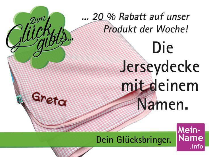 Baby Decke mit Namen vom 06.07.2015 - 12.07.2015 unser Produkt der Woche! Jetzt 20% Nachlass mit JERS2015 auf unsere Kuscheldecke erhalten. Die personalisierte Schmuse Decke ist unser Angebot diese Woche - sparen !