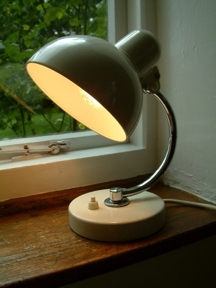 Bedside lamp designed by Christian Dell, master of the metal workshop at the Bauhaus, for Kaiser & Co., Neheim-Hüsten in the late 1920s.