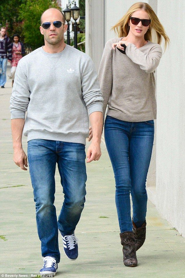 His n hers: Jason Statham and Rosie Huntington-Whitely stepped out in matching ensembles as they embarked on a shopping trip in Los Angeles