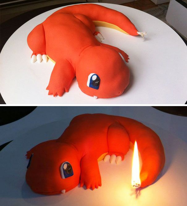 The Charmander Cake with a candle tail! From Bored Panda's collection of cakes that are too beautiful to eat.