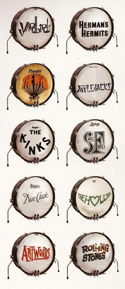 1960s bass drum logos