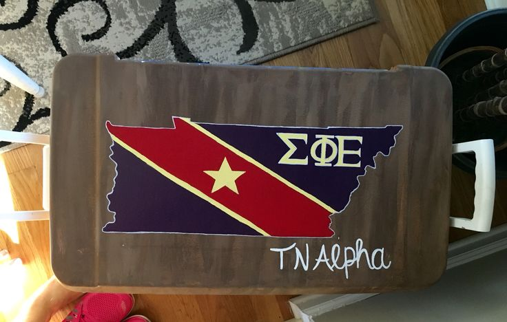 Sigma phi epsilon painted cooler - sig ep flag in the outline of Tennessee