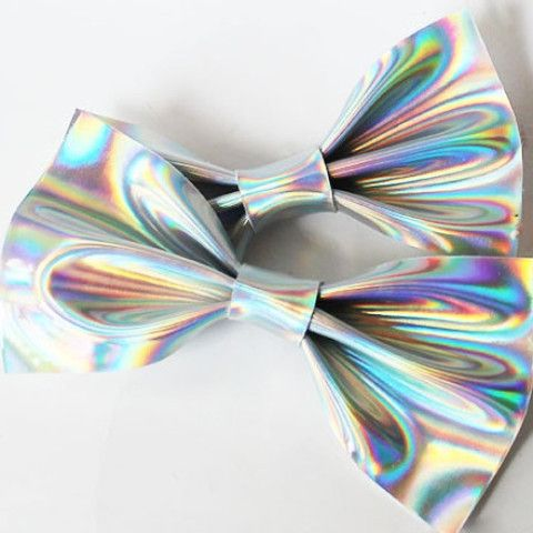 Faux Leather Fabric Holographic hair bows In Silver and Gold with alligator…