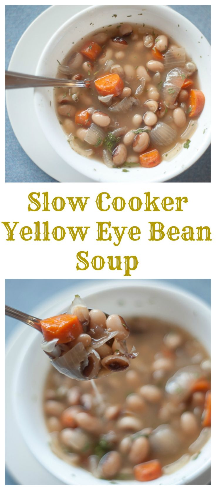 Easy and healthy Slow Cooker Yellow Eye Bean soup.  bloggingwithapples.com