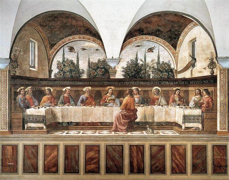 Domenico Ghirlandaio: Ultima Cena del convento di San Marco Ultima Cena, anno 1486 circa, affresco su muro, dimensioni cm. 400 X 800, Convento di San Marco, Firenze.