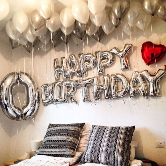 16inch 13pcs/lot Happy Birthday Alphabet letter balloons multi color foil balloons party globos 1st birthday party decoration