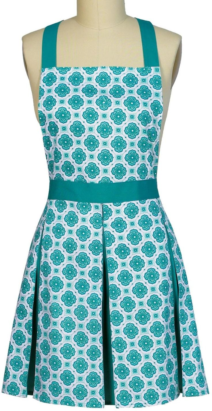 Kay Dee Designs Uptown Cafe Pleated Turquoise Apron | ColorMeTurquoise