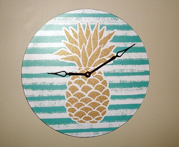 Pineapple Wall Clock Gold Glitter Pineapple Clock Unique