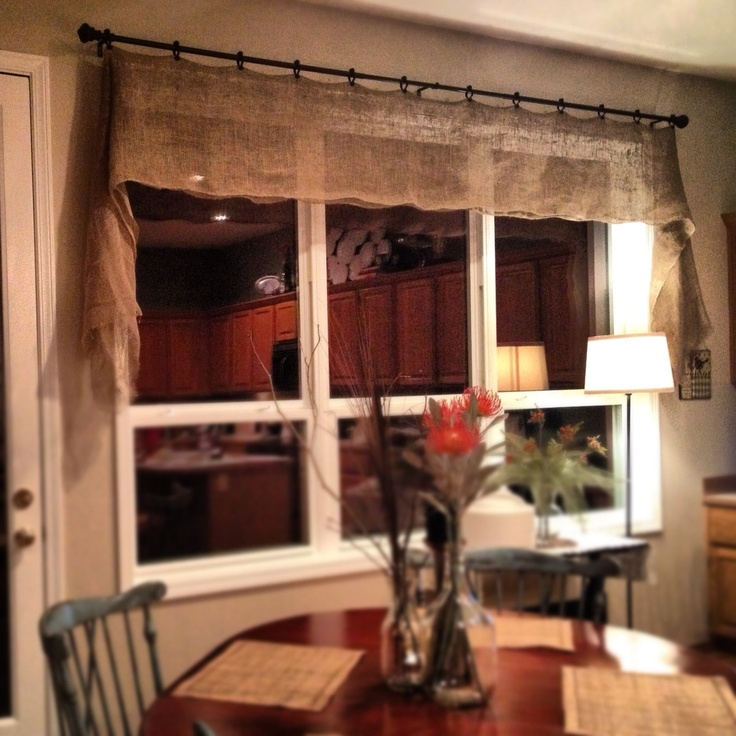 Sewing Kitchen Curtains: Simple No Sew Burlap Valance.