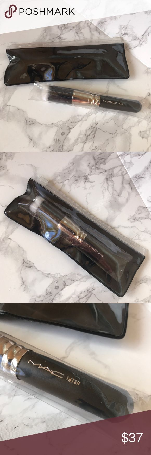 MAC 187 SH duo fibre face brush 🎀BRAND NEW IN BOX! 🎀 NEVER USED OR SWATCHED!  100% AUTHENTIC!   😍 🛍 I have TONS of other high end NWT makeup, BUNDLES WELCOME! 🛍😍 MAC Cosmetics Makeup Brushes & Tools