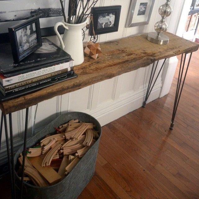 DIY hairpin leg table. Cheaper than west elm