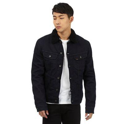 Lee Dark blue sherpa collar denim jacket | Debenhams