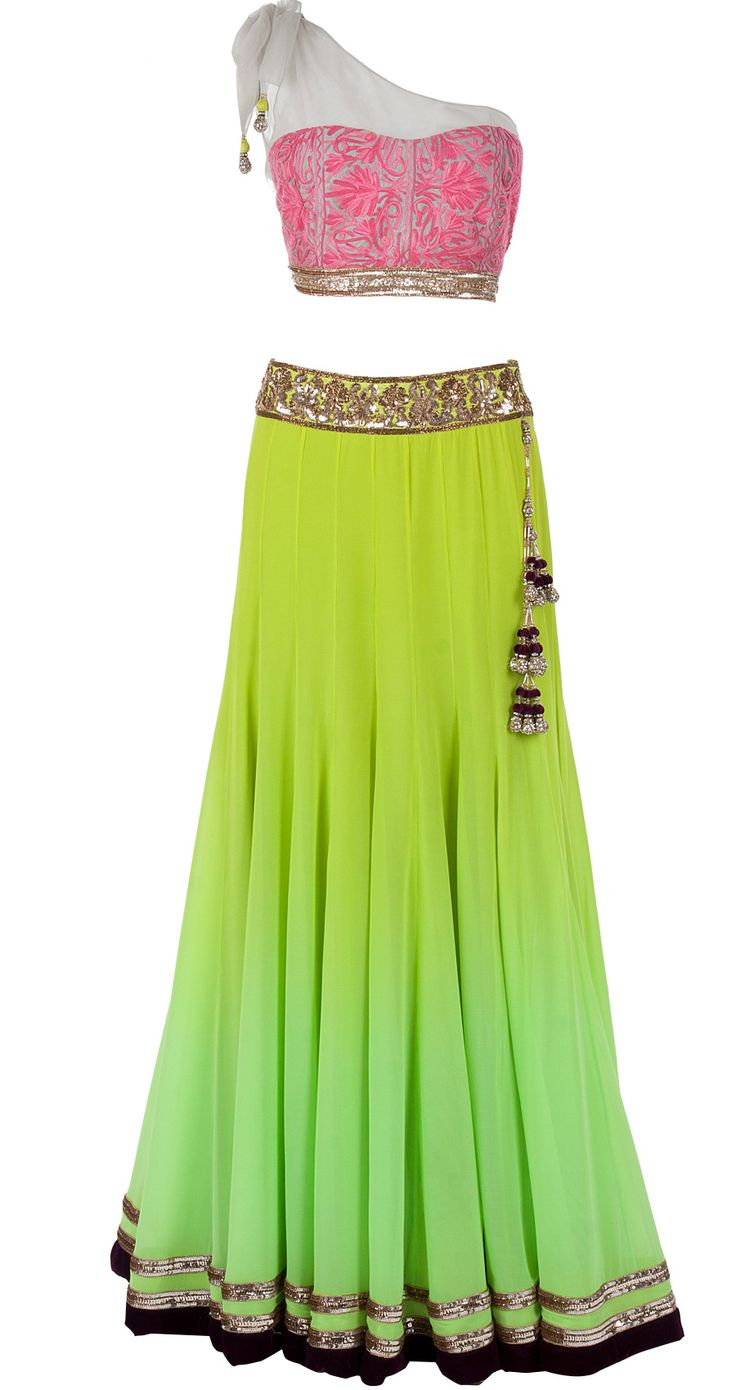 Green shaded lehenga with one shoulder blouse by MANISH MALHOTRA. Shop at http://www.perniaspopupshop.com/designers-1/manish-malhotra