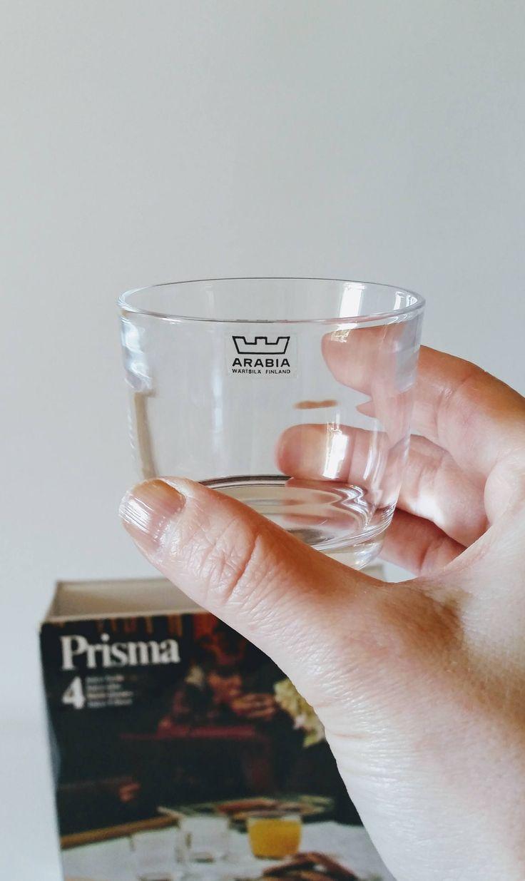 Kaj Franck 'Prisma' Arabia Finland four clear juice glasses whisky glasses 1967 mid century by NordicFiesta on Etsy