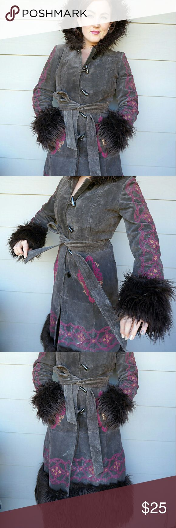 Charlotte Russe Leather hooded trench coat 100% leather hooded jacket with embroidery and faux fur trim, used. Super warm and cute. Perfect for Burning Man or other festival that you need to keep toasty. ^_^ Charlotte Russe Jackets & Coats Trench Coats