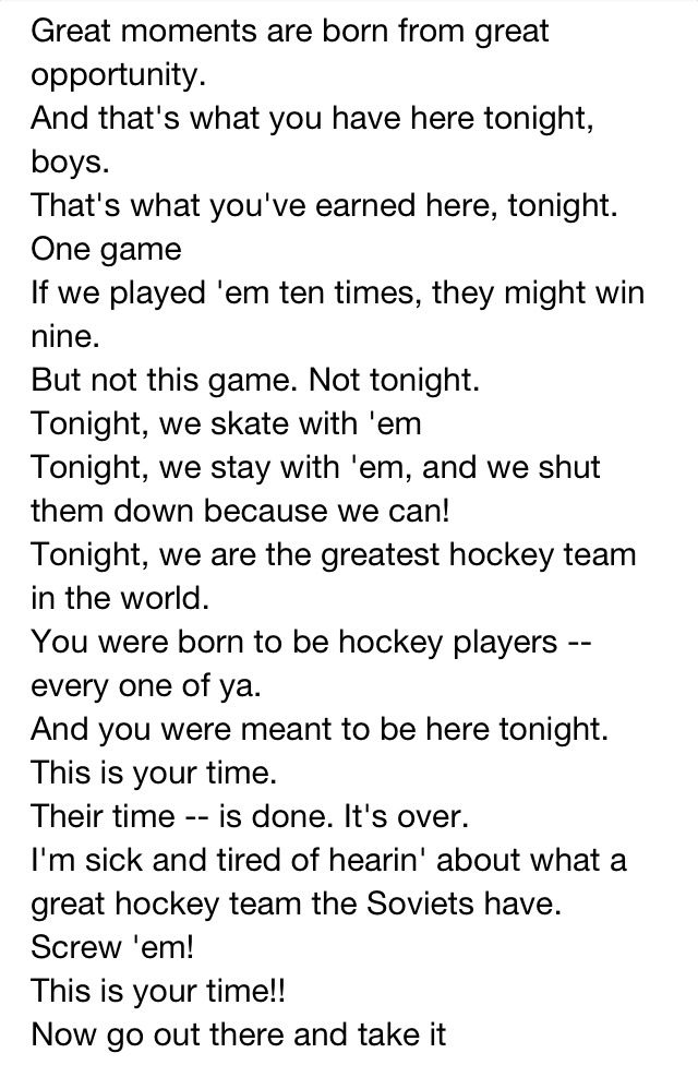 Miracle on ice speech, one of the best ever given