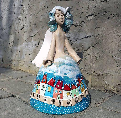 e-keramika / maľovaný anjelik modrý - zvonec