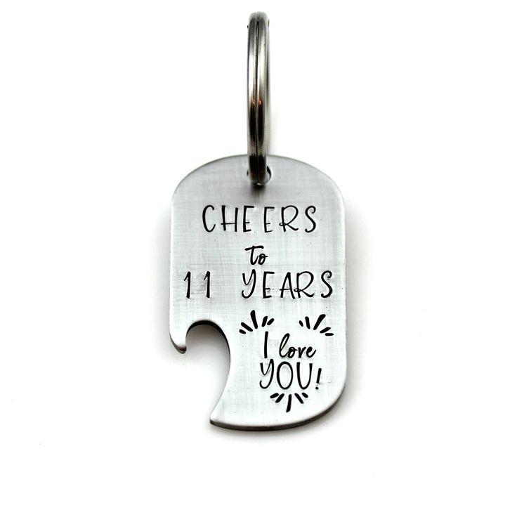 11th anniversary stainless steel keychain bottle opener