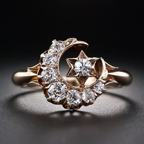 Victorian Crescent Moon and Star Diamond Ring.