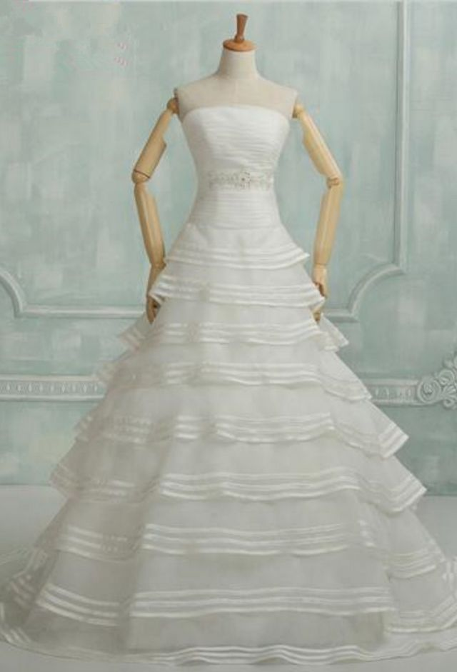 Real Samples Tiered Wedding Dresses Elegant Pleated Ivory Bridal Dresses A-Line Wedding Gowns 2016 robe