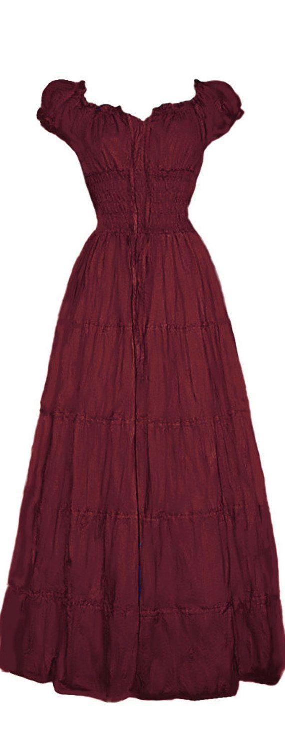 I-D-D Renaissance Peasant Wench Pirate Faire Women 's Gown Boho Hippie Sun Dress  Cranberry L/XL