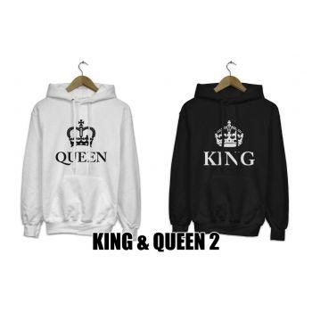 Bluzy z kapturem dla par zakochanych komplet 2 szt Queen King 2