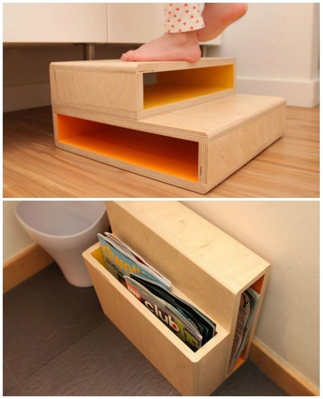 Gorgeous modern step stool that converts into a magazine rack when kids have outgrown it. So smart!