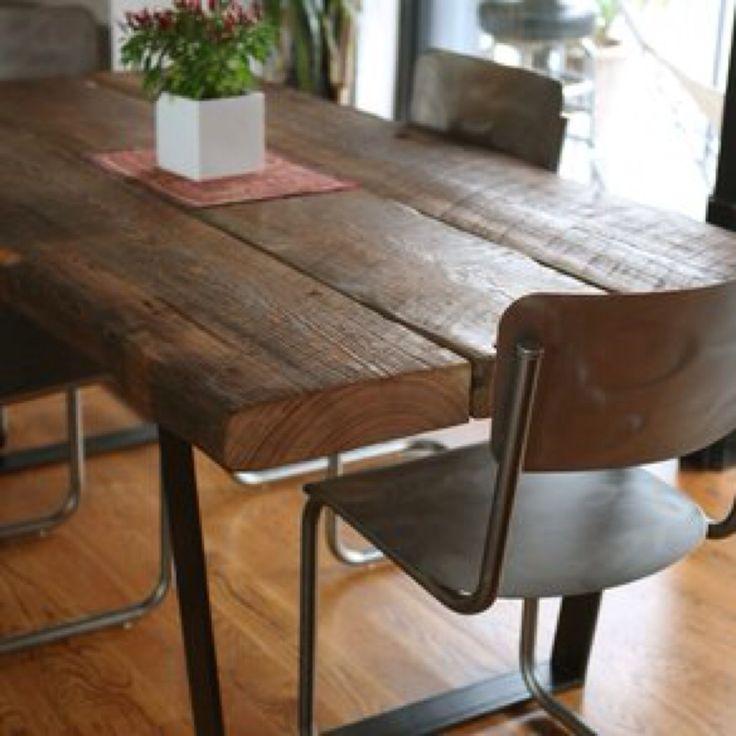 Mesas de hierro y madera dura estacionada mesas for Mesas de hierro forjado y madera