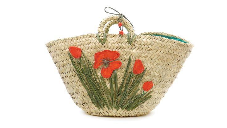 Coffa #Papaveri con elementi in #ceramica. Dwarf palm bag Papaveri (#Poppies) with #ceramic elements - by #Ciprialavica.