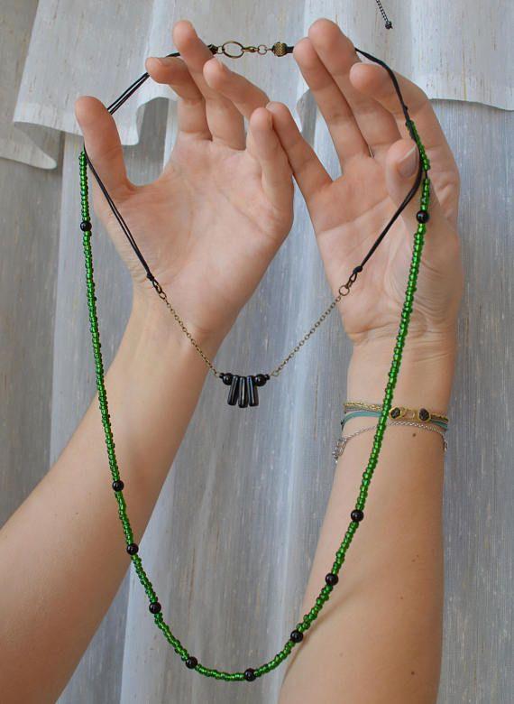 Boho green black Long women beaded necklace Glass beads Black