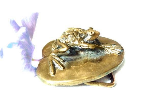 Vintage Carl Tasha Belt Buckle Signed Bronze Frog Brass Limited Edition  Bronze Sculptural Buckle Frog On