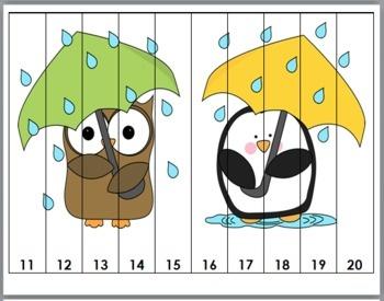 Búho y pingüino bajo la lluvia