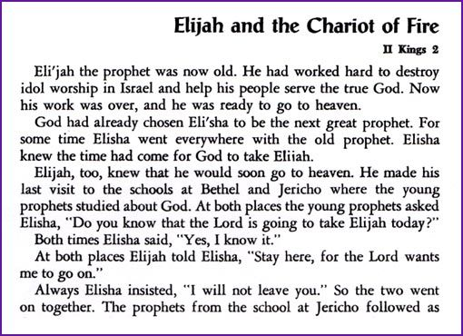 Elijah And The Chariot Of Fire Story Kids Korner