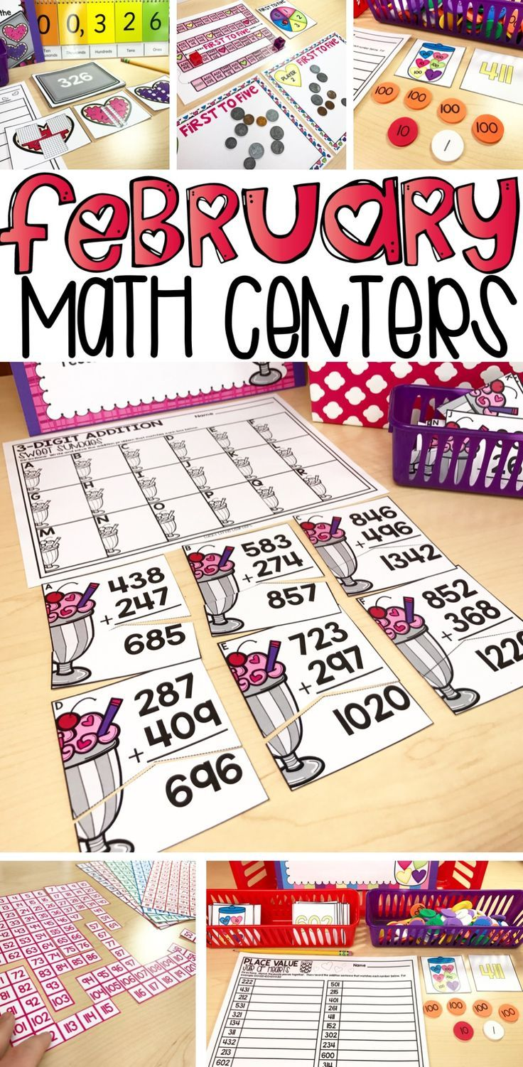 If you are a 2nd grade teacher looking to spice up your math centers and guided math time in the month of February, look no further!  These math centers are perfect for practicing how to tell time, add money, addition with regrouping, subtraction with regrouping, problem solving, place value, and more!  10 centers are included in both full color and black and white.  Answer keys and directions sheets are also included.