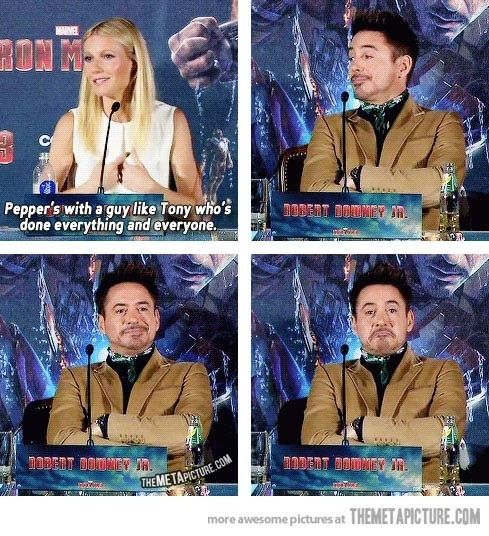 He's even sassy when he's not saying anything: | 32 Reasons Robert Downey Jr. Is The Most Perfect Man In The Universe