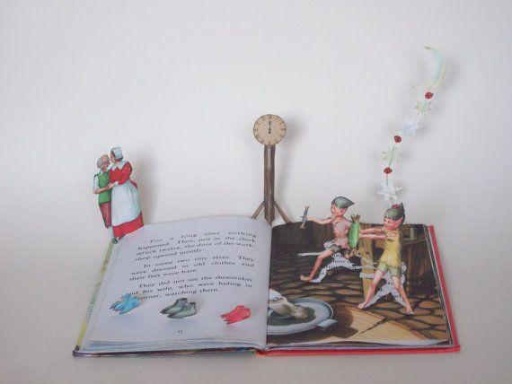 Boek sculptuur de Elfen en de schoenmaker boek kunst, boek cadeau
