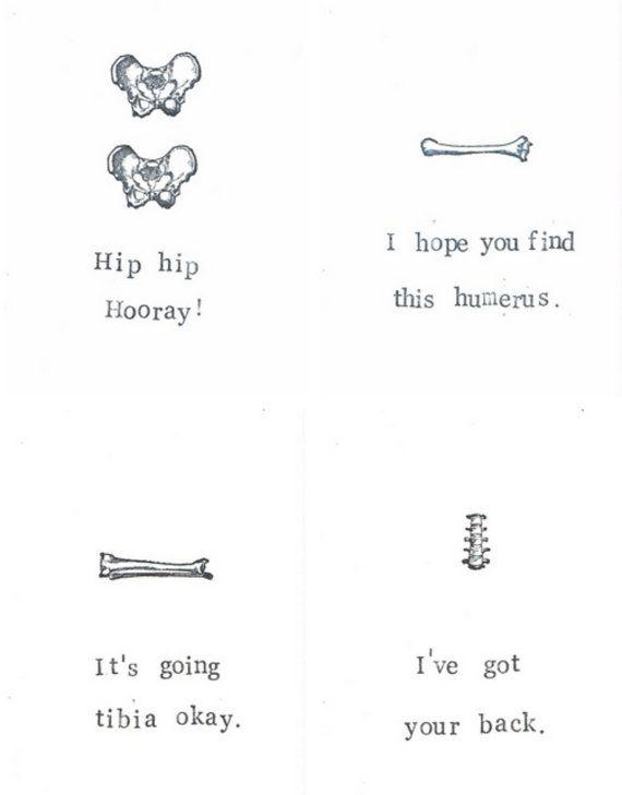 Anatomy Note Cards Gift Pack |  Funny Skeleton Medical Puns Biology Science Teacher Gift Humor Gothic Men Nurse Doctor Nerdy Bones Halloween