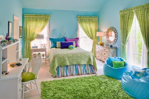 Bright Blue Wall Themes with Green Curtains and Study Table in Modern Teenage Girls Bedroom Designs Ideas Choosing Great Accessories for you...